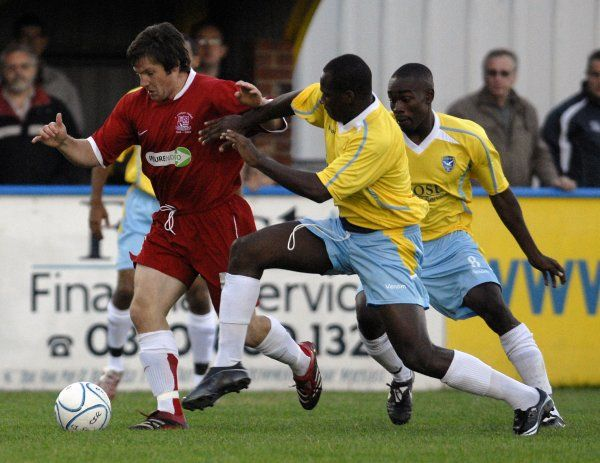 CANVEY, ENGLAND - 20/07/2007: Tommy Black, a second half sub, finds himself crowded out on the wingr. CREDIT: Galvineyes/Garry Bowden