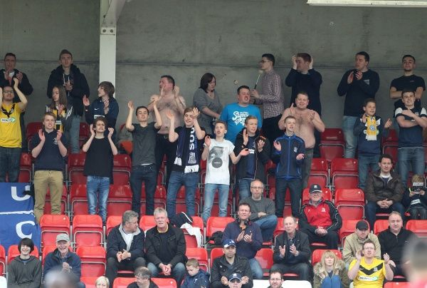 Skybet League 2 Cheltenham v Southend United at the Abbey Business Stadium. Crowd Mandatory Credit: Stephen Lawrence(Southern News and Pictures)/Southend United a