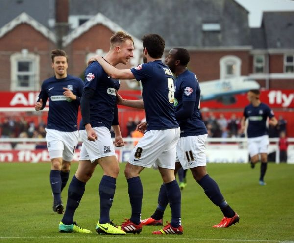 SkyBet League 2 - Exeter City v Southend United at St James' Park. Cauley Woodrow Mandatory Credit: Stephen Lawrence(Southern News and Pictures)/Southend United ? NO UNPAID USE