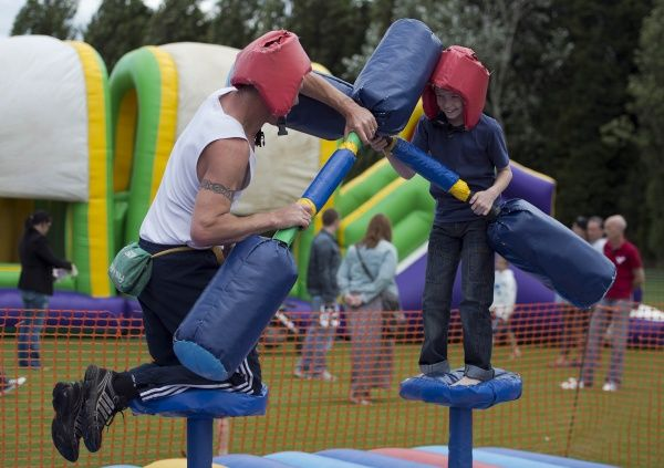 Two supporters battle on the Gladiator challenge - Meet the Blues Day at Boots and Laces, Southend - 15/07/12 - NO UNPAID USE