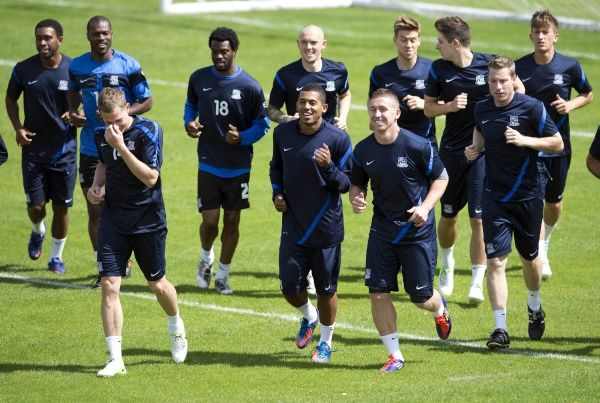 Southend United's players warm-up - Meet the Blues Day at Boots and Laces, Southend - 15/07/12 - NO UNPAID USE