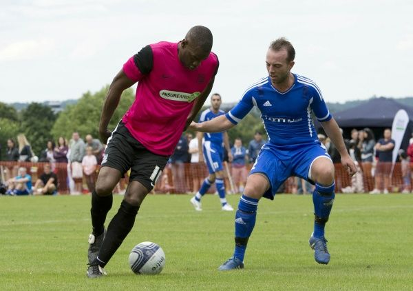 Southend United Legend Leo Roget takes on his marker in the Legends vs. Celebrity match - Meet the Blues Day at Boots and Laces, Southend - 15/07/12 - NO UNPAID USE