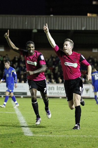 Neil Harris (Southend United) celebrates his goal with Anthony Grant (Southend United) - AFC Wimbledon vs. Southend United - npower League Two at The Cherry Red Records Stadium, Kingston upon Thames - 31/12/11 - NO UNPAID USE