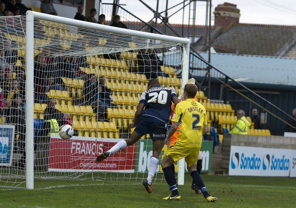 Britt Assombalonga (Southend United) scores a goal to make it 3-0 - Torquay United vs. Southend United - npower League Two at Plainmoor, Torquay - 17/11/12 - NO UNPAID USE