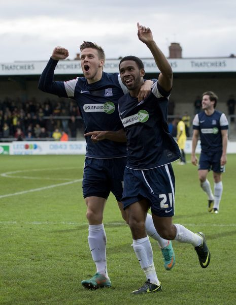 Gavin Tomlin (Southend United) celebrates his second goal with Kevan Hurst (Southend United) - Torquay United vs. Southend United - npower League Two at Plainmoor, Torquay - 17/11/12 - NO UNPAID USE