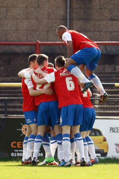 York City celebrate scoring the opening goal - York City vs. Southend United - npower League Two at Bootham Crescent, York - 20/04/2013 - Mandatory Credit: Pixel8 Photos/Phil Cook