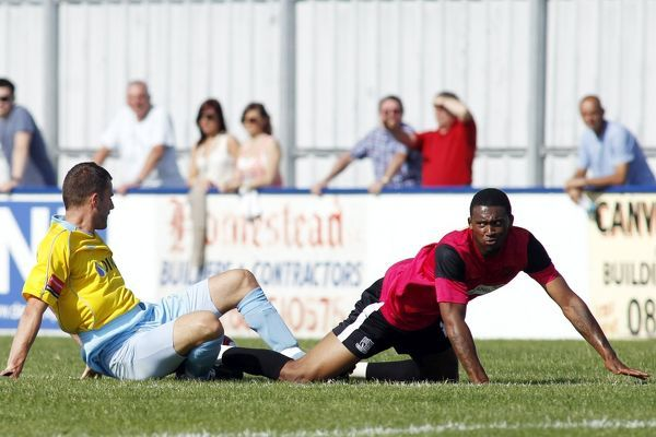 Andrew West (Canvey Island) tackles Merrick James-Lewis (Southend United) - Canvey Island vs. Southend United XI - Pre-Season Friendly at Park Lane, Canvey - 30/07/11 - NO UNPAID USE