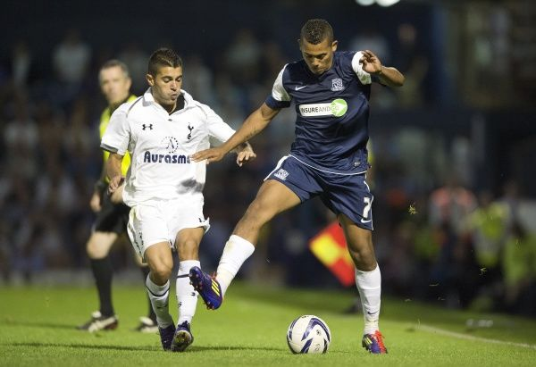 Ryan Hall (Southend United) takes on Yago Falque (Tottenham Hotspur) - Southend United vs. Tottenham Hotspur XI - Pre-Season Friendly at Roots Hall, Southend - 10/08/12 - NO UNPAID USE