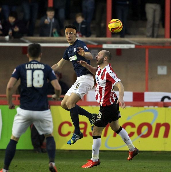 SkyBet League 2 - Exeter City v Southend United at St James' Park. Luke Prosser Mandatory Credit: Stephen Lawrence(Southern News and Pictures)/Southend United ? NO UNPAID USE