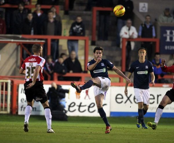 SkyBet League 2 - Exeter City v Southend United at St James' Park. Michael Timlin Mandatory Credit: Stephen Lawrence(Southern News and Pictures)/Southend United ? NO UNPAID USE