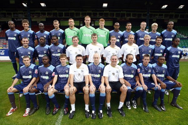 Southend United Team Photo 2008/09 Back Row (left-to-right): Francis Laurent, Alex Revell, Paul Furlong, Simon Francis, Ian Joyce, Steve Mildenhall, Clark Masters, Kevin Betsy, Hal Robson-Kanu, Peter Clarke, Dan Harding, Jean Francois-Christophe