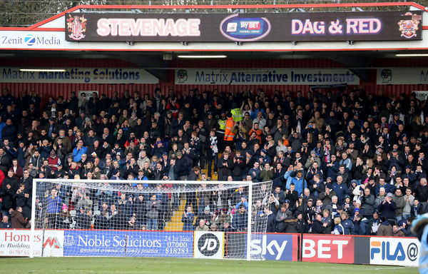 SkyBet League Two - Stevenage v Southend United at The Lamex Stadium.  Mandatory Credit: Stephen Lawrence(Southern News and Pictures)/Southend United ? NO UNPAID USE
